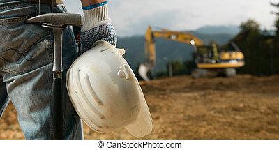 engineering equipment - closeup back view of male engineer ...