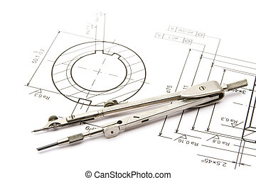 Equipment for engineering - drawing-compass and blueprint of component (gearwheel)