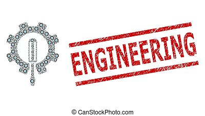 Engineering Fractal Mosaic of Engineering Items and Scratched Engineering Stamp