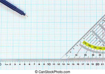 Engineering graph paper with ruler and pens