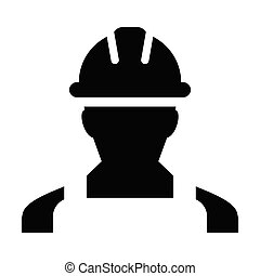 Engineering icon vector male construction service person profile avatar with hardhat helmet in glyph pictogram illustration