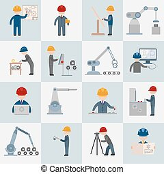 Engineering construction worker machine operator mechanic flat icons set isolated vector illustration