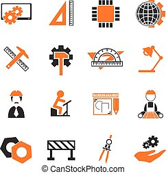 Engineering simply icons for web and user interfaces