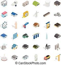 Engineering icons set, isometric style