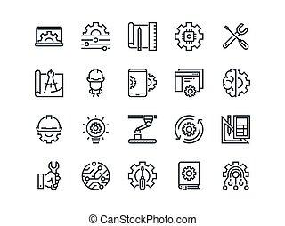 engineering., jogo, de, esboço, vetorial, icons., contém, tal, como, fabricando, engenheiro, ferramenta, producao, ajustes, e, mais
