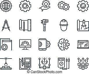 engineering., jogo, de, esboço, vetorial, icons., inclui, tal, como, fabricando, engenheiro, ferramenta, producao, ajustes, e, outro., editable, stroke., 48x48, pixel, perfect.