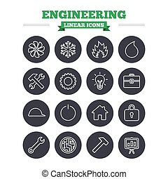 Engineering linear icons set. Thin outline signs. Vector -...