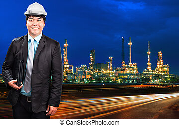 engineering man and oil refinery plant against beautiful blue du