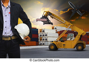 engineering man and safety helmet working in container dock use
