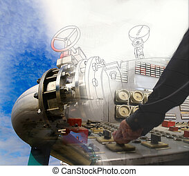 engineering man hand on power plant switch against drawing combined with picture