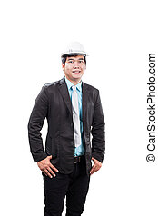 engineering man wearing white safety helmet standing and smiling