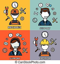 Engineering, mechanic and support vector set, flat outlined design