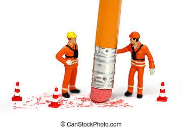 Engineering mistake concept - Miniature engineer or...