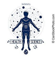 engineering., objet, humain, fait, moléculaire, utilisation, illustration, homme, futuriste, biochimie, génétique, athlétique, vecteur, connections., recherche