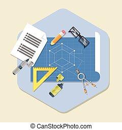 Engineering Planning Symbol Blueprint, icon in flat style.