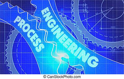 Engineering Process on the Cogwheels. Blueprint Style.