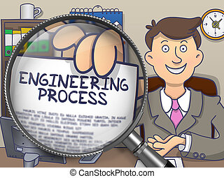 Engineering Process through Magnifier. Doodle Style.