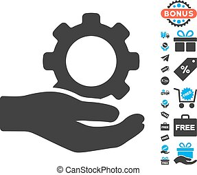 Engineering Service Gear Hand Icon with Free Bonus -...