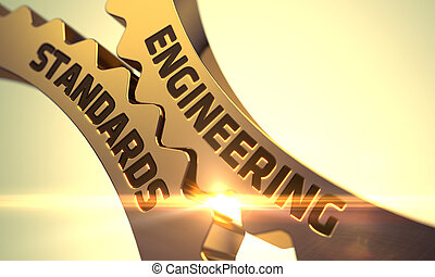 Engineering Standards Concept. Golden Cogwheels. 3D. - ...