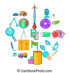 Engineering system icons set, cartoon style