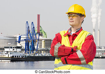 Engineering technology - Engineer, wearing safety gear...