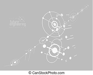 Engineering technology vector wallpaper made with circles and lines. Technical drawing abstract background.