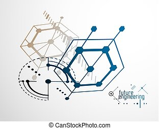 Engineering technology vector wallpaper made with hexagons, circles and lines. Technical drawing abstract background.