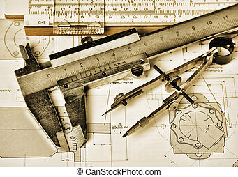 engineering tools and technical drawing