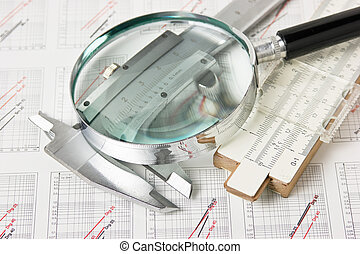 engineering tools on technical drawing - engineering tools...