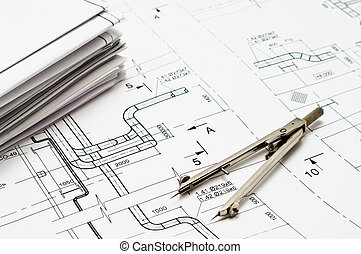 Engineering tools - Black nad white paper blueprints and...