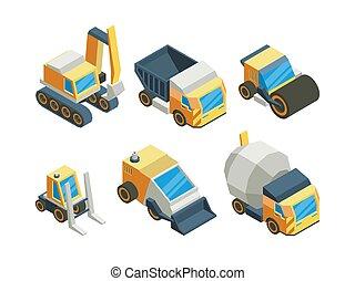 Engineering vehicles isometric 3D vector illustrations set