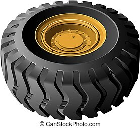 Engineering vehicles wheel - High quality vector image of...