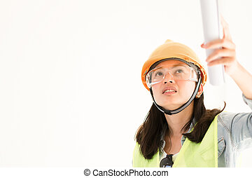 Engineering with hard hat at construction site