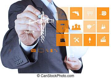 engineern, mano, trabajando, con, computadora nueva, interfaz, exposición, edificio, desarrollo, concepto