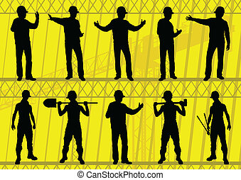 Engineers and builders silhouettes collection in construction site background illustration vector