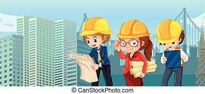 Engineers and workers reading blueprints