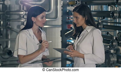 Engineers are talking at the plant - Woman engineer have a...