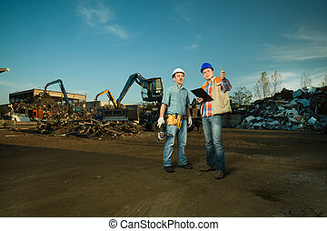 engineers at recycling center