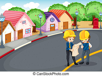 Engineers at the road - Illustration of the engineers at the...
