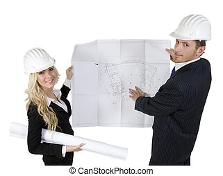 engineers reviewing blueprint