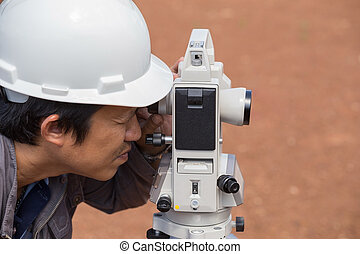 Engineers use tacheometer or theodolite for survey line ...