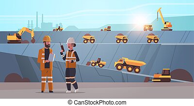 engineers using radio and tablet workers controlling professional equipment working on coal mine extraction industry mining transport concept opencast stone quarry background flat horizontal