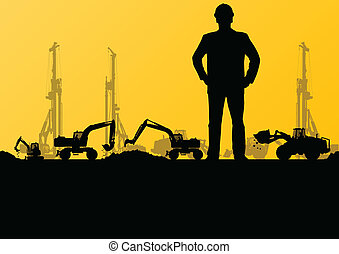 Engineers with excavator loaders and tractors digging at...