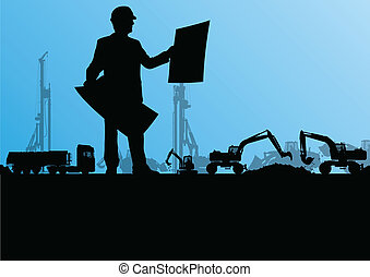 Engineers with excavator loaders and tractors digging at industrial construction site vector background illustration
