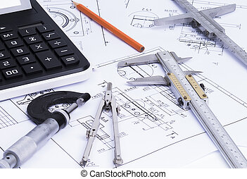 engineerung, eszközök, képben látható, műszaki, rajzol