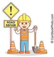 Enginer repair the road