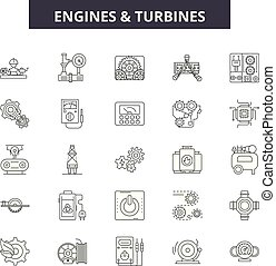 Engines and turbines line icons, signs set, vector. Engines and turbines outline concept, illustration: engine,turbine,power,air,fan,blade