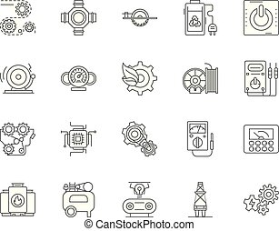 Engines and turbines line icons, signs, vector set, outline illustration concept