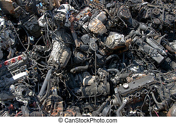 Engines pile - A pile of car engines for recycling