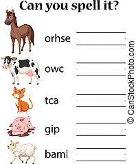 Engish animals spell worksheet illustration